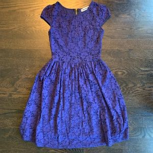Mystic Blue Lace Dress with Cap Sleeves. Size S